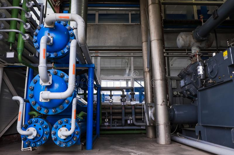 Heat exchanger. Air separation unit. ryogenic industrial plant. Liquid oxygen factory. Tube and vessel. stock photography