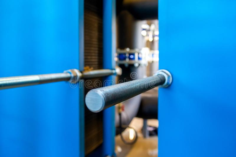 Heat exchangers for cooling medium of water, oil and gas process. Boiler room or oil refinery. Industrial equipment. Selective stock image