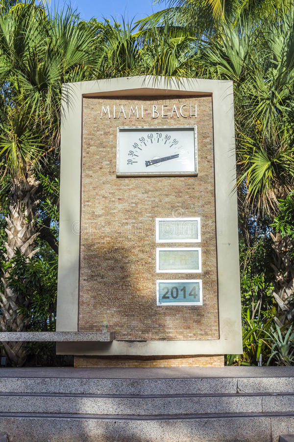 Heat gauge and date display outside the Art Deco Welcome Center in South Beach Miami. Florida royalty free stock photography