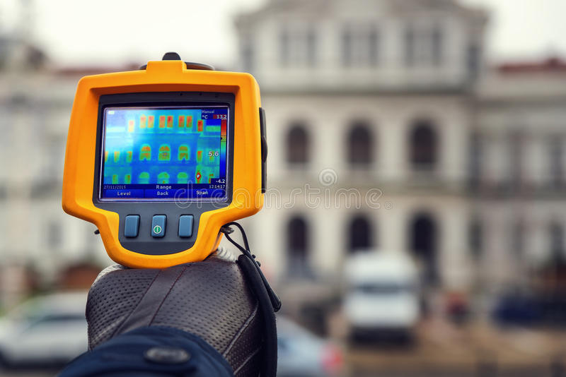 Heat Loss Inspection With Infrared Thermal Camera stock image
