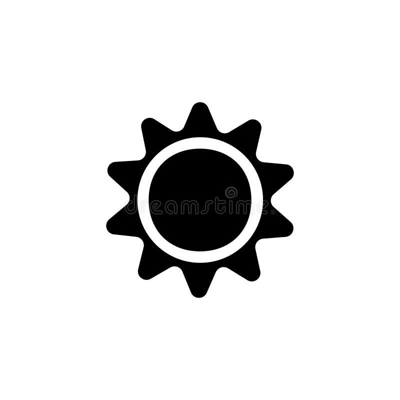 Sun icon. Weather meteorology sign. Heat, mediterranean, day, energy, shape, meteorology, nature, climate, shine, beams, orange, power, pointed, sunbeams stock illustration