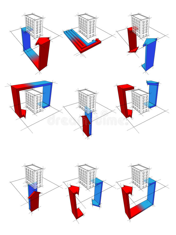 Heat pump diagrams. Collection of nine heat pump diagrams - on example of apartment house showing possibilities of usage of heat pump stock illustration