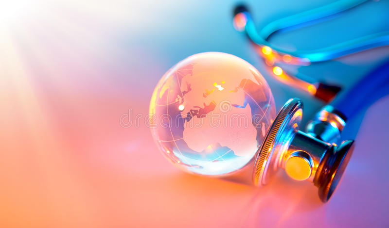 Heat rays on sick planet - pollution stock images