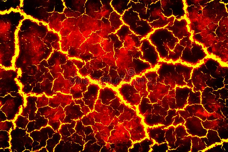 Heat red cracked ground texture. After eruption volcano vector illustration