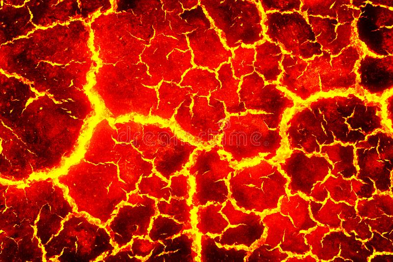 Heat red cracked ground texture. After eruption volcano stock illustration