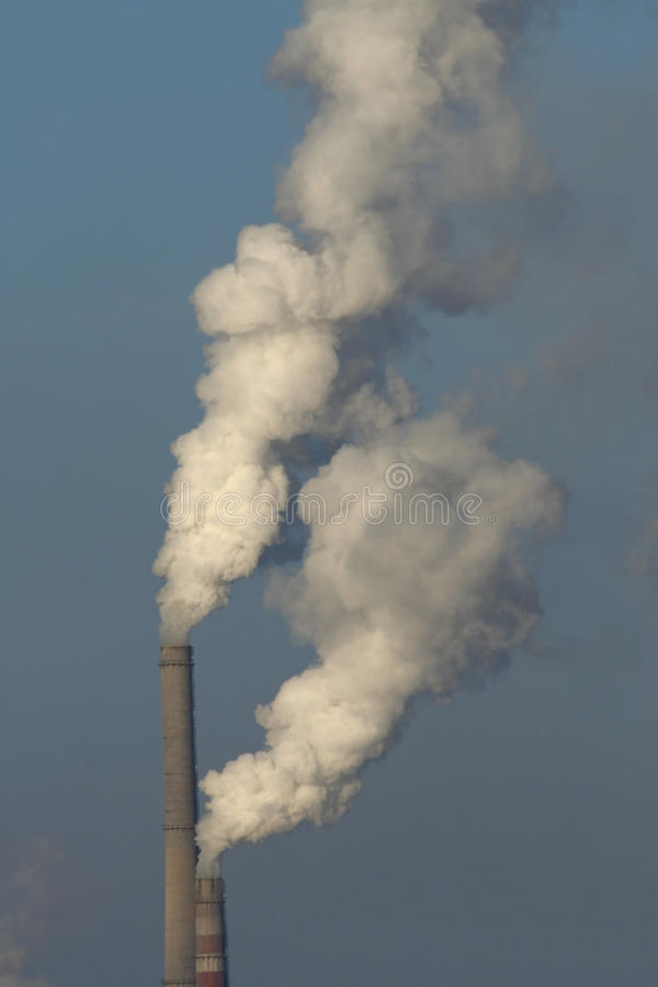 Download Heat Station Smoke Stack Against Blue Sky Stock Image - Image: 33249541