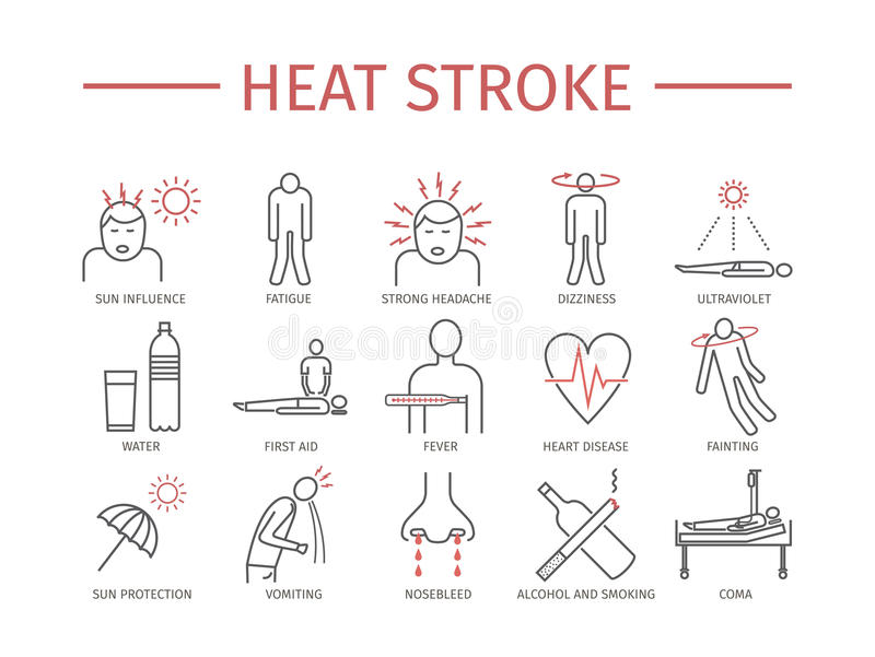Heat stroke icons vector illustration