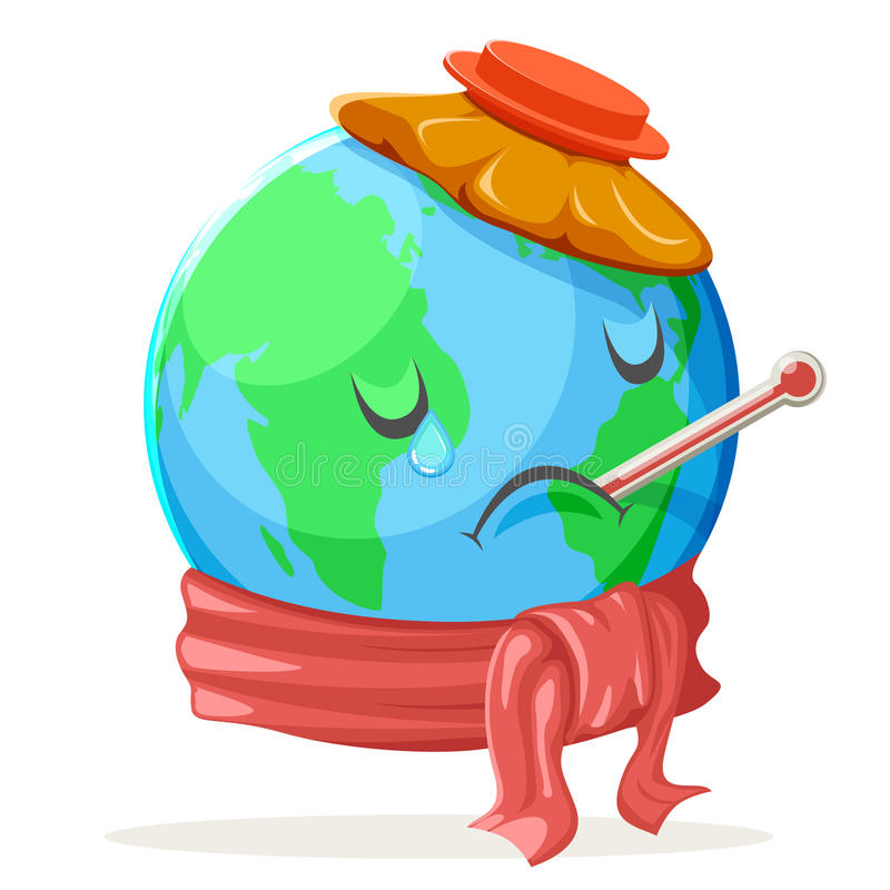 Heat Thermometer Ice Bag Ecology Sick Cold Sad Suffer Emotion Nature Earth Globe. Icon Character Isolated Vector Illustration royalty free illustration
