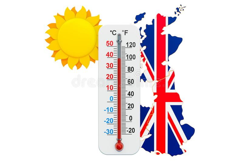 Heat in the United Kingdom concept. 3D rendering. Isolated on white background stock illustration