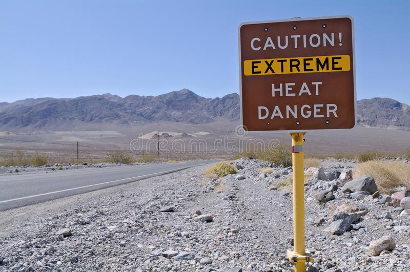 Heat warning sign in Death Valley National Park royalty free stock photos