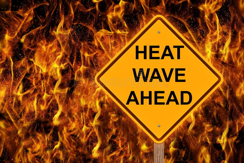 Heat Wave Ahead Caution Sign royalty free stock photography