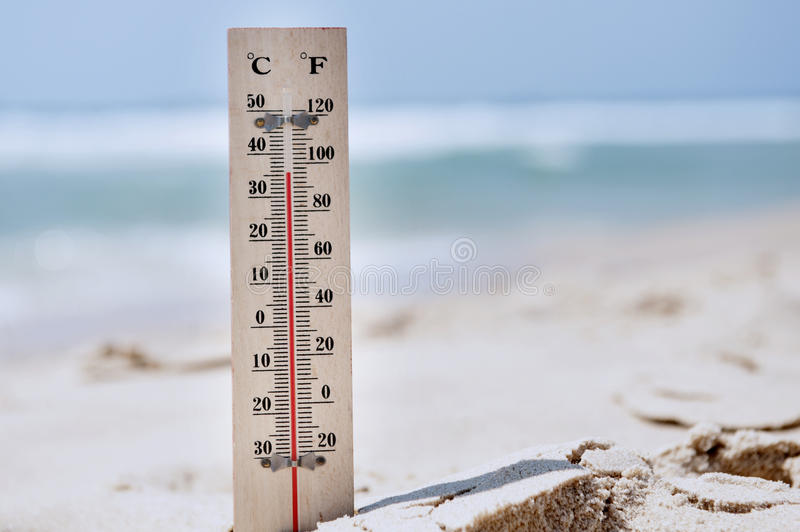 Heat Wave High Temperatures. A temperature scale on a beach shows high temperatures during a heat wave stock image