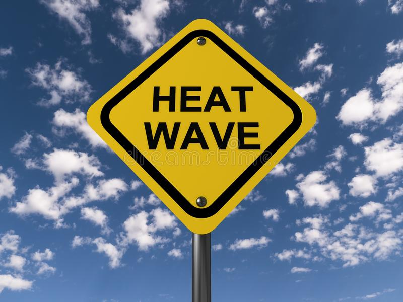 Heat wave sign. A yellow heat wave sign and sky in the background royalty free stock photo