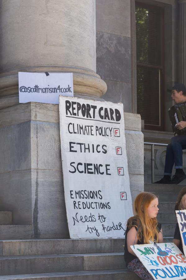 Heated Dialogue. Adelaide, AU - November 30, 2018: Hundreds of students in Adelaide gather outside of Parliament House demanding action on climate change royalty free stock photos
