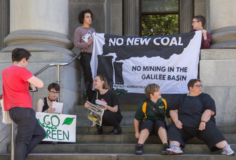 Heated Dialogue. Adelaide, AU - November 30, 2018: Hundreds of students in Adelaide gather outside of Parliament House demanding action on climate change stock photos