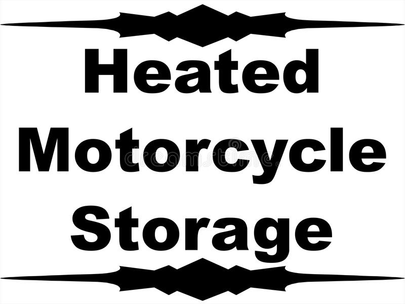 Heated motorcycle storage with border storing business road sign .ai .eps winter bike black white warm illustration heat royalty free illustration