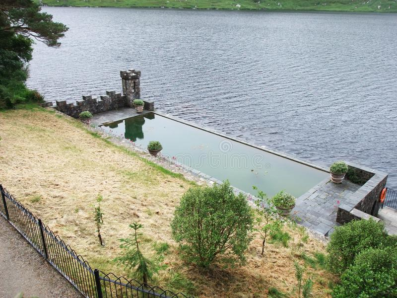 Heated pool fire below Castle in ireland. Heated pool fire below Glenveigh park Castle in ireland royalty free stock photography