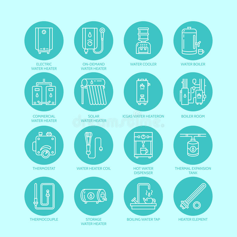Heater, water boiler, thermostat, electric, gas, solar heaters and other house heating equipment line icons. Thin linear royalty free illustration