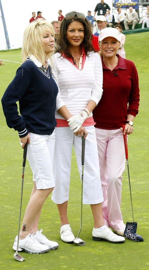 Heather Locklear, Catherine Zeta-Jones och Cheryl Ladd royaltyfri foto