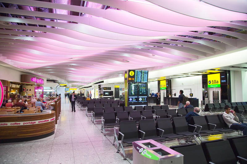 Heathrow airport. LONDON - SEPTEMBER 5TH: Departure lounge at heathrow airport on September the 5th, 2015 in London, england, uk. Heathrow is one of the busiest stock photos
