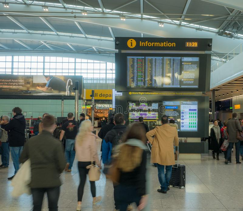 Heathrow airport in London, terminal 5. UK, London, Heathrow airport, terminal 5. 12/28/2017. The terminal was designed to handle 35 million passengers a year royalty free stock image