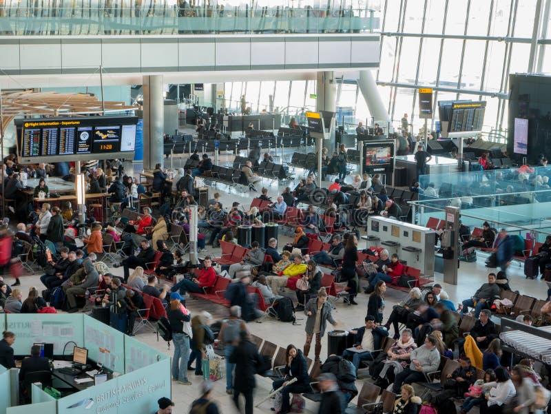 Heathrow airport in London, terminal 5. UK, London, Heathrow airport, terminal 5. 12/28/2017. The terminal was designed to handle 35 million passengers a year stock photos