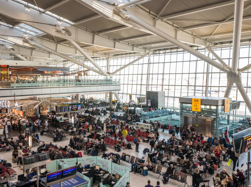 Heathrow airport in London, terminal 5. UK, London, Heathrow airport, terminal 5. 12/28/2017. The terminal was designed to handle 35 million passengers a year stock photo