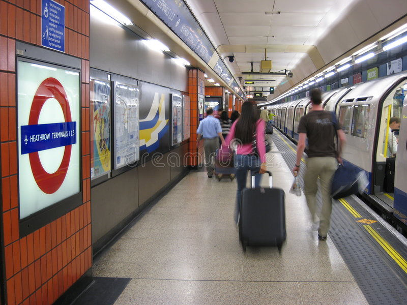 Heathrow underground station. London has one of the world's most convenient transit systems, including a subway stop at Heathrow airport stock photos