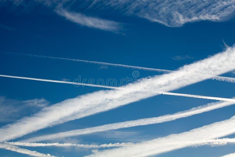 Download Heathrow Vapour Trails stock image. Image of contrails - 26530945