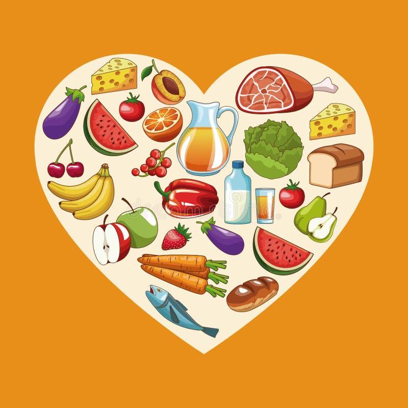 Heathy еда и сердце иллюстрация штока
