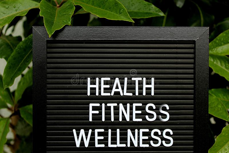 Health, Fitnes, Wellness - Heathy concept - Isolated text on black background with colorful flowers. Heathy concept - Isolated text on black background with royalty free stock images