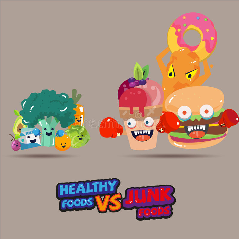 heathy food versus junk food. character design choice of a healthy or unhealthy food. typographic design. cartoon style - vector stock illustration