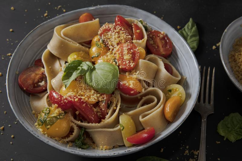 Heathy Pappardelle Pasta Dish stock image