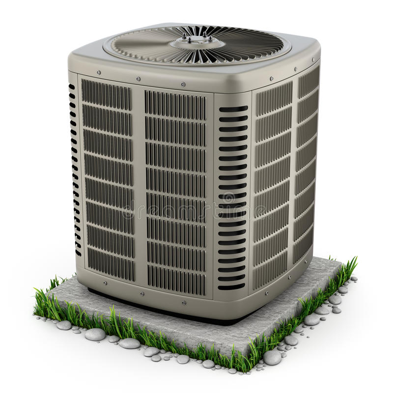 Heating and air conditioner unit. On the stand - 3D illustration stock illustration