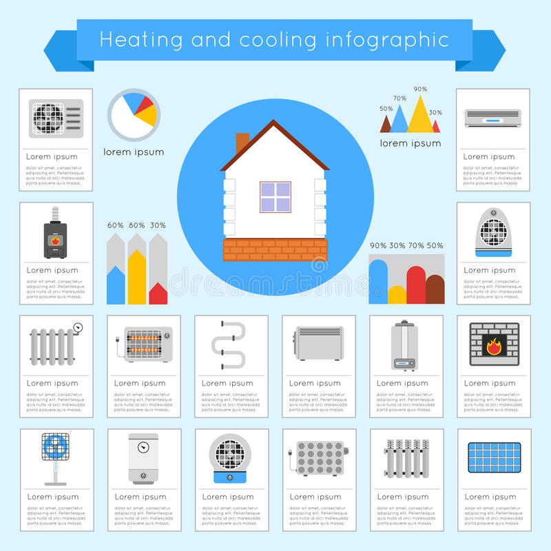 Free Heating And Cooling Infographics Royalty Free Stock Photography - 47467647