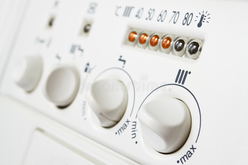 Heating boiler controls royalty free stock photo