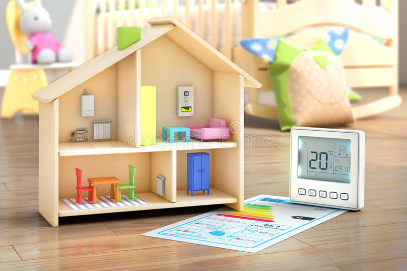 Heating concept. Child toy house with underfloor heating system in the child interior. 3d illustration vector illustration