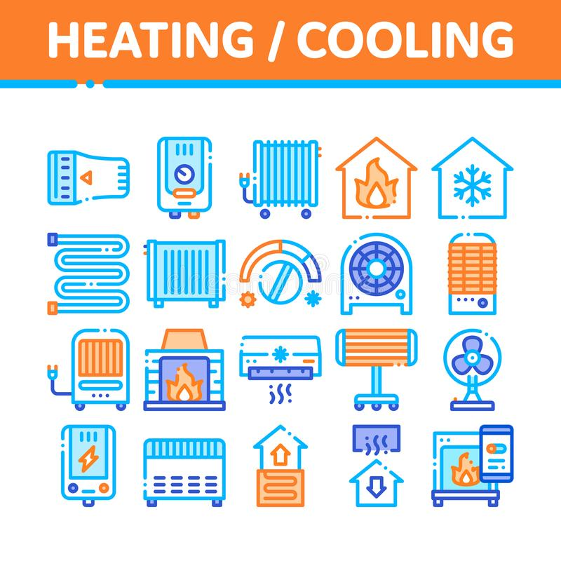 Heating And Cooling Collection Vector Icons Set vector illustration