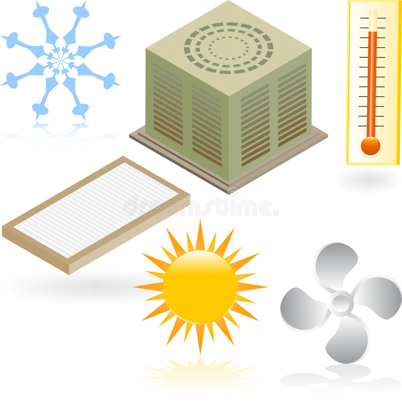 Heating and Cooling Icons stock illustration