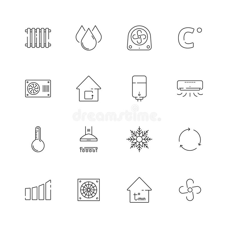 Heating cooling icons. Airing conditioning systems vector heat symbols thin line royalty free illustration