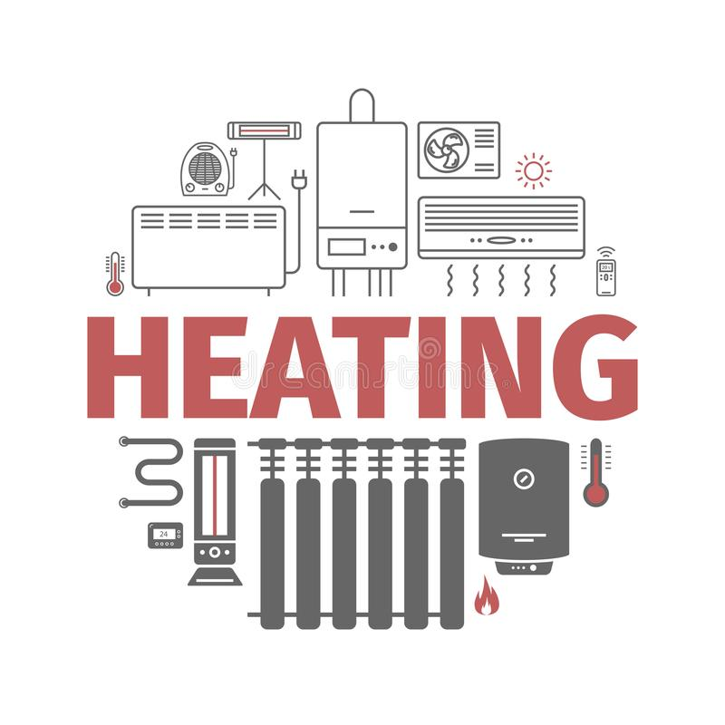 Heating and cooling banner. Ventilation and conditioning vector illustration. Heating and cooling icons isolated on white. Ventilation and conditioning vector vector illustration