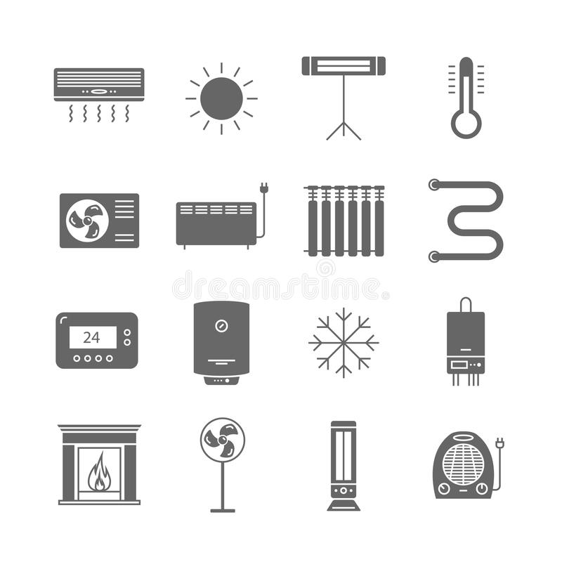 Heating and cooling icons isolated on white. Ventilation and conditioning vector illustration. stock illustration
