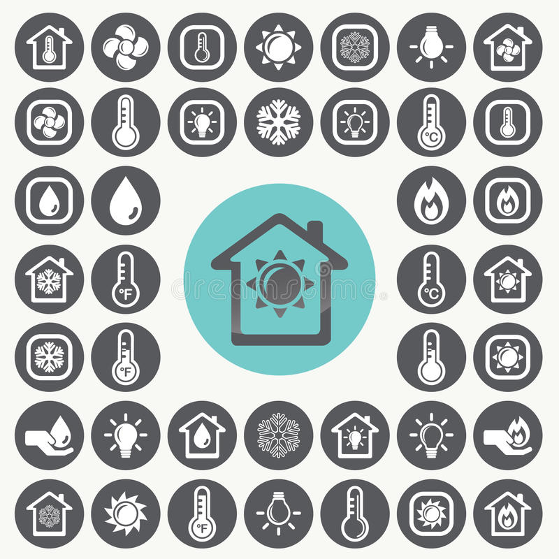 Heating and Cooling icons set. vector illustration