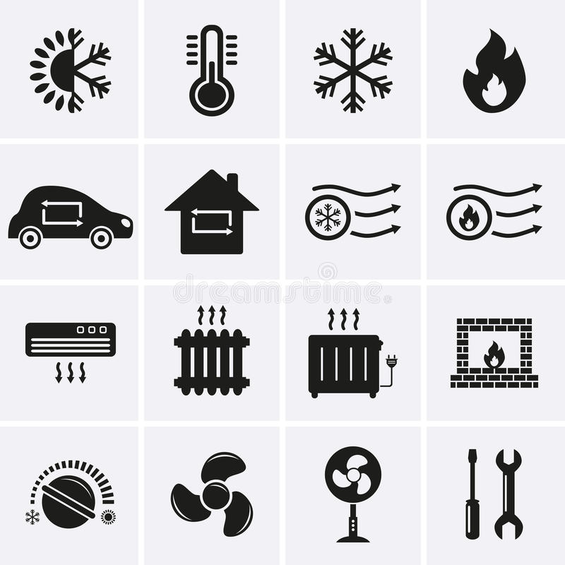 Heating and Cooling Icons. Vector