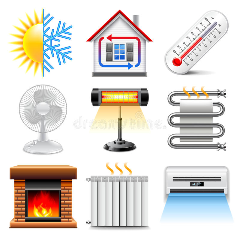 Heating and cooling icons vector set stock illustration