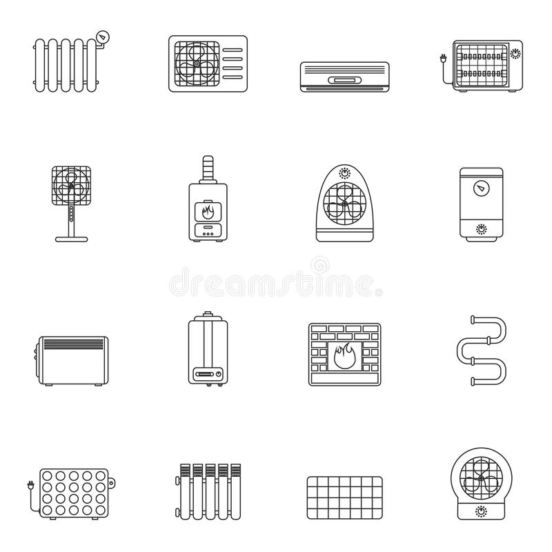 Heating and cooling outline stock illustration