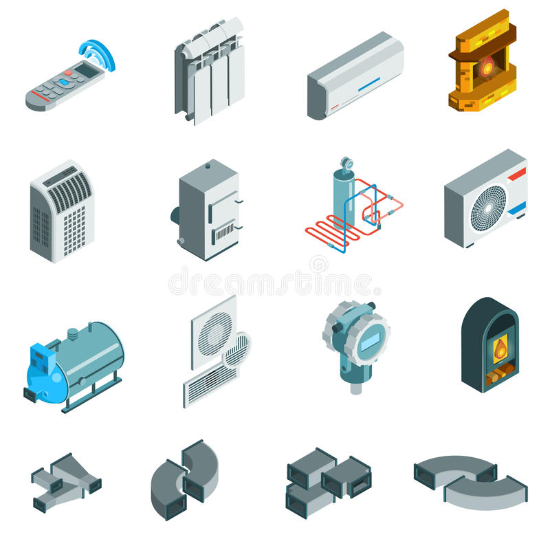 Heating Cooling System Isometric Icons Set vector illustration