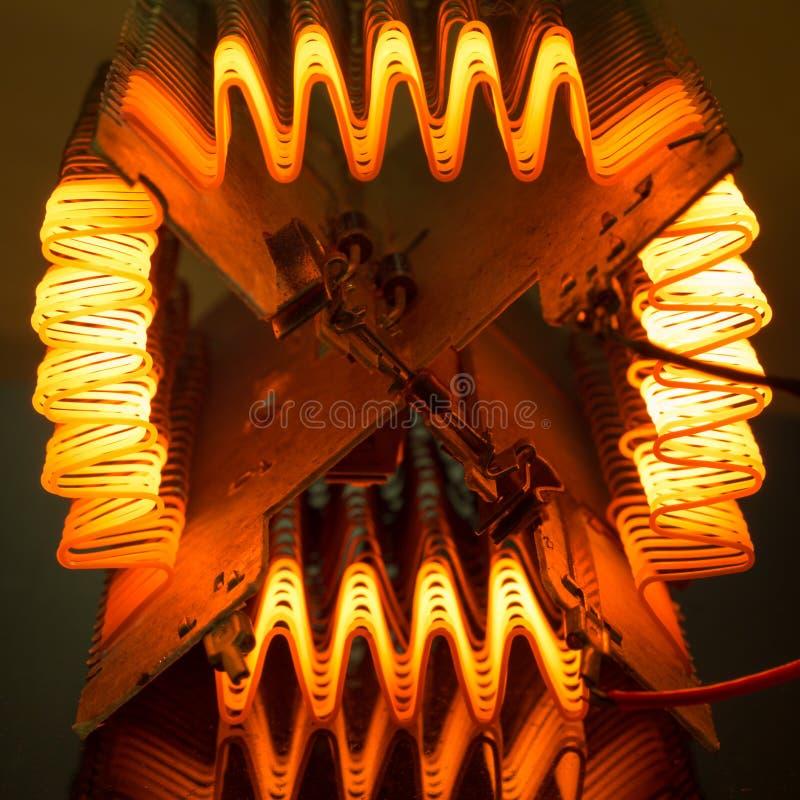 Heating element. Macro of working heating element stock photography
