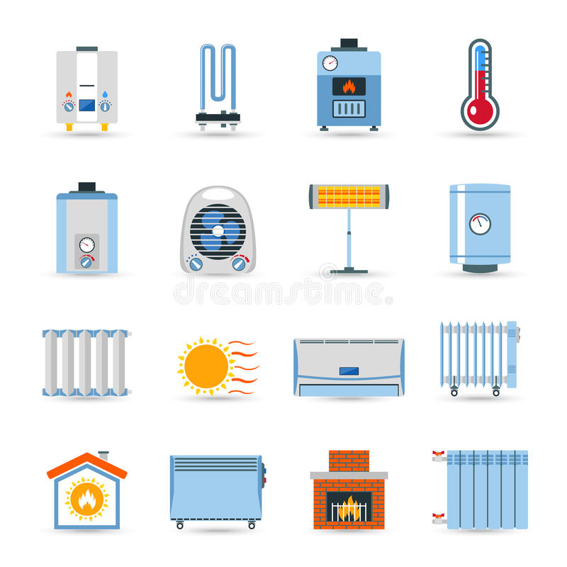 Heating Flat Color Icon Set stock illustration