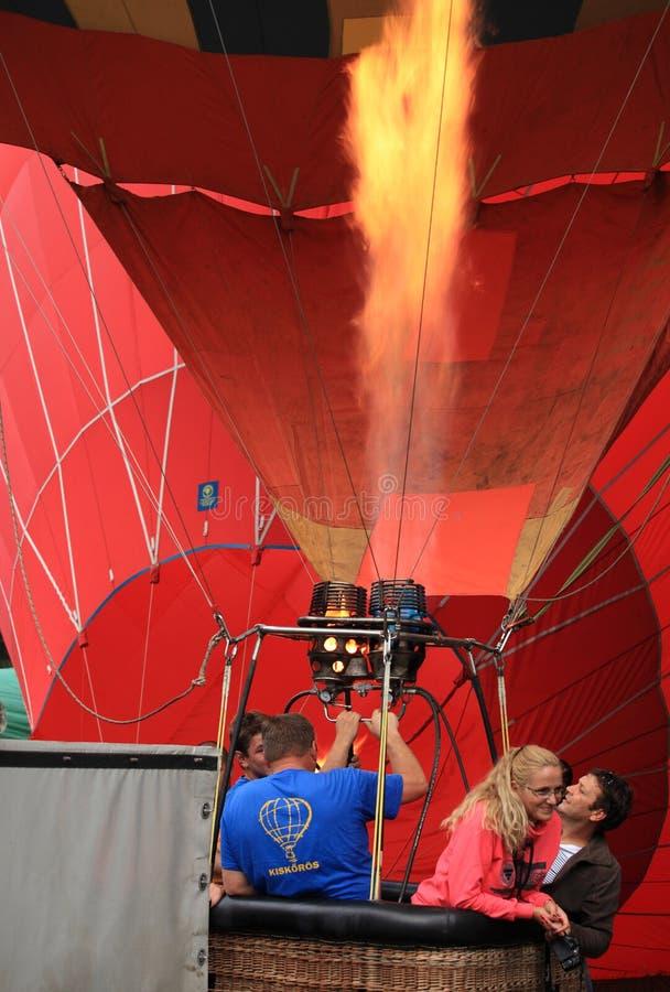 Heating hot air balloon